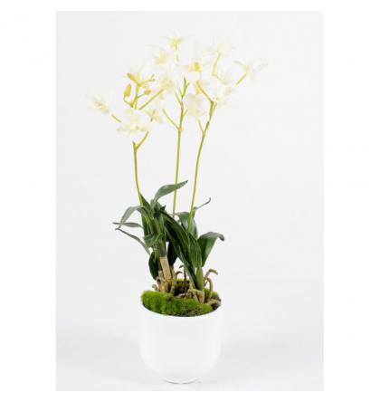 Orchidée artificielle Dendrobium artificiel 40cm avec pot