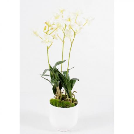 Orchidée artificielle Dendrobrium artificiel 40 cm avec pot