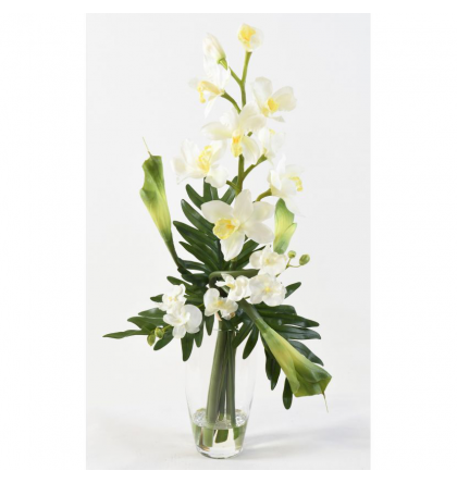 Bouquet artificiel Cymbidium et Phalaenopsis 80cm