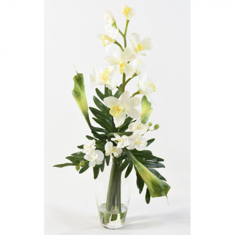 Bouquet artificiel Cymbidium et Phalaneopsis 80cm