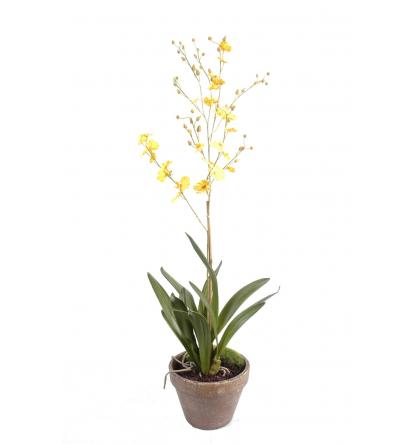 Orchidée artificielle dancing lady pot terre 90cm